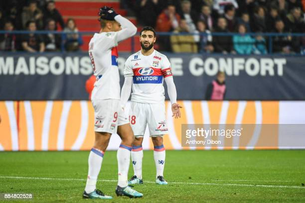 Nabil Fekir and Mariano Diaz of Lyon looks dejected during the Ligue 1 match between SM Caen and Olympique Lyonnais at Stade Michel D'Ornano on...