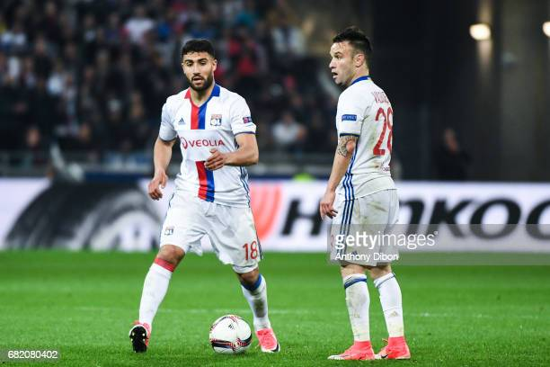 Nabil Fekir and Mathieu Valbuena of Lyon during the Uefa Europa League semi final second leg match between Olympique Lyonnais Lyon and Ajax Amsterdam...