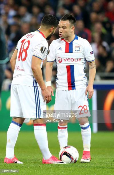 Nabil Fekir and Mathieu Valbuena of Lyon during the UEFA Europa League semi final second leg match between Olympique Lyonnais and Ajax Amsterdam at...