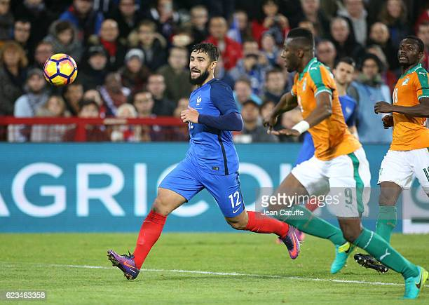 Nabil Fekir of France in action during the international friendly match between France and Ivory Coast at Stade Felix Bollaert Delelis on November 15...