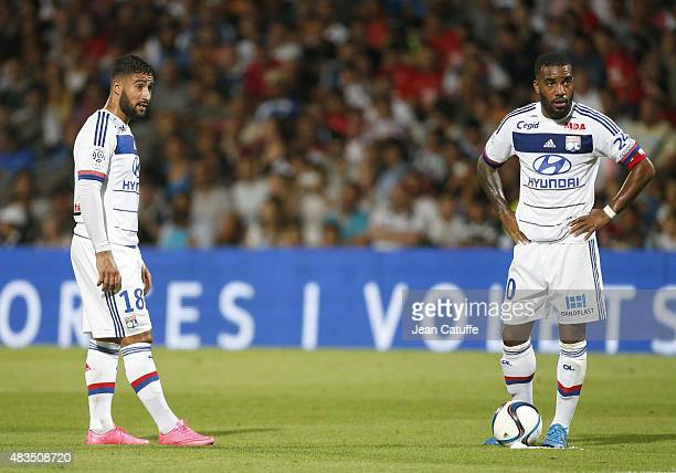 Nabil Fekir of Lyon and Alexandre Lacazette of Lyon in action during the French Ligue 1 match between Olympique Lyonnais and FC Lorient at Stade de...