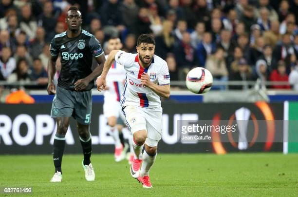 Nabil Fekir of Lyon and Davinson Sanchez of Ajax Amsterdam during the UEFA Europa League semi final second leg match between Olympique Lyonnais and...