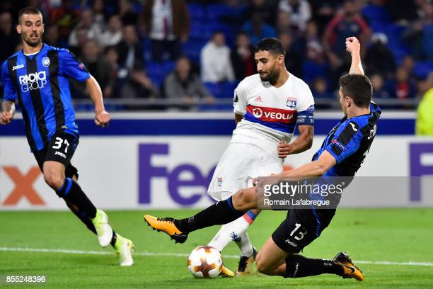 Nabil Fekir of Lyon and Mattia Caldara of Bergame during the Uefa Europa League match between Lyon and Atalante Bergame on September 28 2017 in Lyon...
