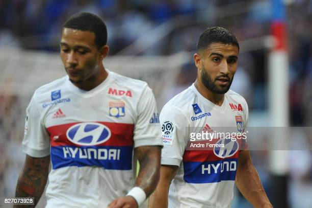 Nabil Fekir of Lyon and Memphis Depay of Lyon during the Ligue 1 match between Olympique Lyonnais and Strasbourg at Parc Olympique on August 5 2017...