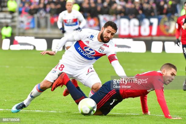 Nabil Fekir of Lyon and Oualid El Hajjam of Amiens during the Ligue 1 match between Amiens SC and Olympique Lyonnais at Stade de la Licorne on...