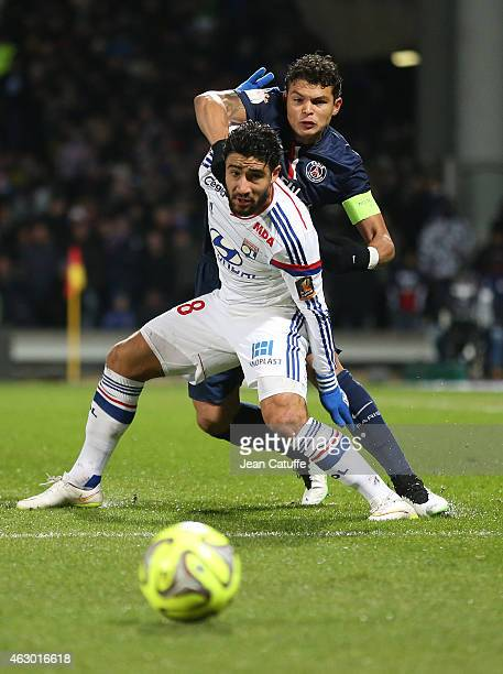 Nabil Fekir of Lyon and Thiago Silva of PSG in action during the French Ligue 1 match between Olympique Lyonnais and Paris SaintGermain FC at Stade...