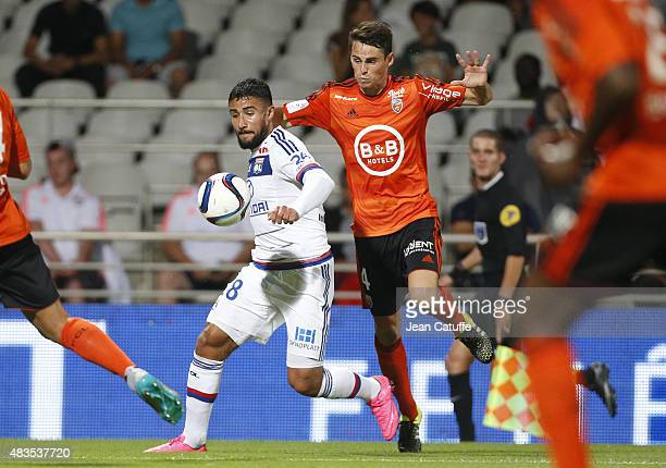 Nabil Fekir of Lyon and Vincent Le Goff of FC Lorient in action during the French Ligue 1 match between Olympique Lyonnais and FC Lorient at Stade de...