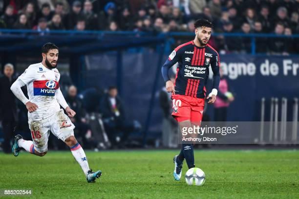 Nabil Fekir of Lyon and Youssef Ait Bennasser of Caen during the Ligue 1 match between SM Caen and Olympique Lyonnais at Stade Michel D'Ornano on...