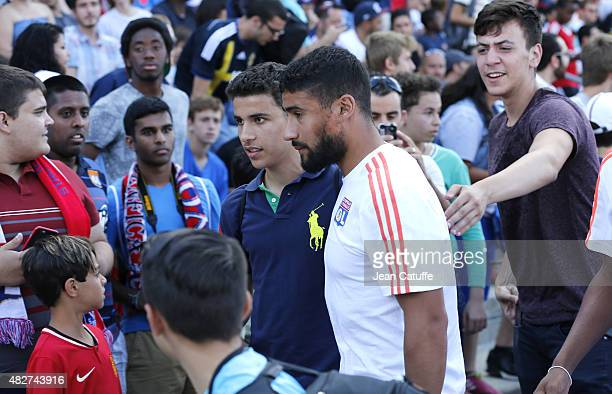 Nabil Fekir of Lyon attends from the stands the 2015 Trophee des Champions between Paris SaintGermain and Olympique Lyonnais at Stade Saputo on...