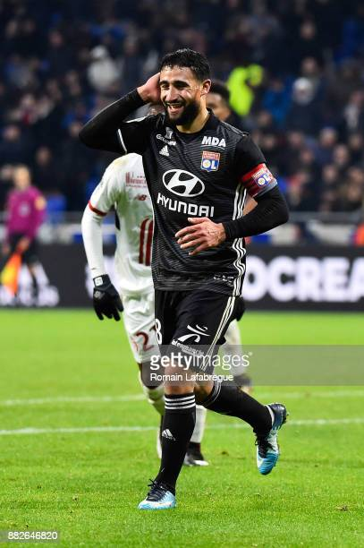 Nabil Fekir of Lyon celebrates his goal during the Ligue 1 match between Olympique Lyonnais and Lille OSC at Parc Olympique on November 29 2017 in...
