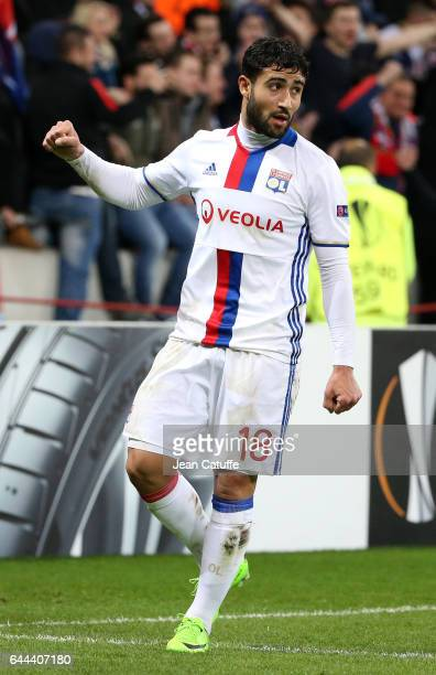 Nabil Fekir of Lyon celebrates his goal during the UEFA Europa League Round of 32 second leg match between Olympique Lyonnais and AZ Alkmaar at Parc...