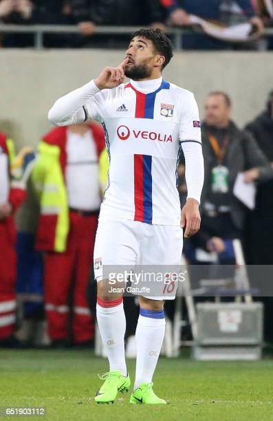 Nabil Fekir of Lyon celebrates his goal during the UEFA Europa League Round of 16 first leg match between Olympique Lyonnais and AS Roma at Parc OL...