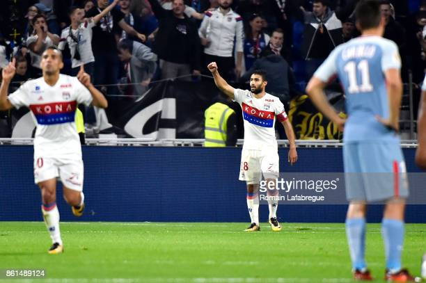 Nabil Fekir of Lyon celebrates scoring during the Ligue 1 match between Olympique Lyonnais and AS Monaco at Stade des Lumieres on October 13 2017 in...