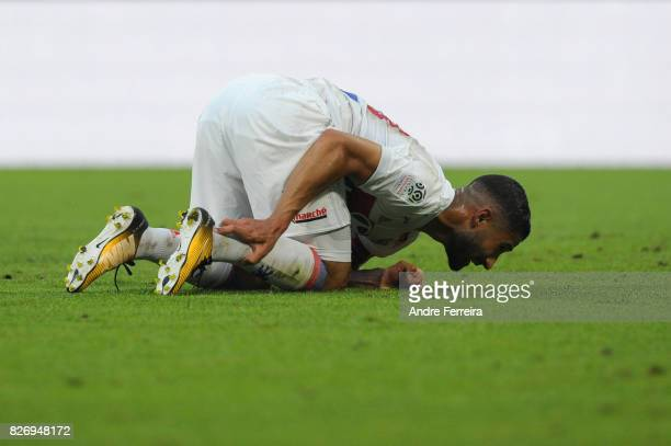 Nabil Fekir of Lyon during the Ligue 1 match between Olympique Lyonnais and Strasbourg at Parc Olympique on August 5 2017 in Lyon