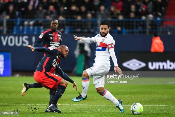 Nabil Fekir of Lyon during the Ligue 1 match between SM Caen and Olympique Lyonnais at Stade Michel D'Ornano on December 3 2017 in Caen