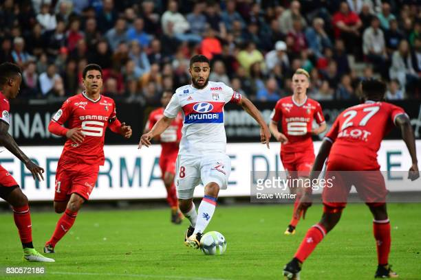 Nabil Fekir of Lyon during the Ligue 1 match between Stade Rennais and Olympique Lyonnais at Roazhon Park on August 11 2017 in Rennes