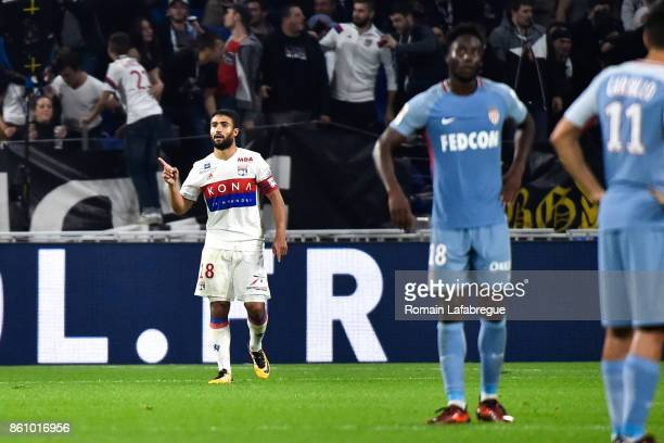 Nabil Fekir of Lyon gestures after scoring during the Ligue 1 match between Olympique Lyonnais and AS Monaco at Stade des Lumieres on October 13 2017...