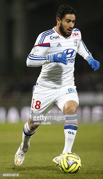 Nabil Fekir of Lyon in action during the French Ligue 1 match between Olympique Lyonnais and Paris SaintGermain FC at Stade de Gerland on February 8...
