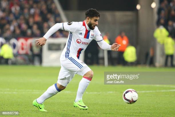 Nabil Fekir of Lyon in action during the UEFA Europa League Round of 16 first leg match between Olympique Lyonnais and AS Roma at Parc OL on March 9...