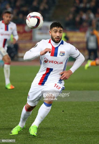 Nabil Fekir of Lyon in action during the UEFA Europa League Round of 16 second leg match between AS Roma and Olympique Lyonnais at Stadio Olimpico on...