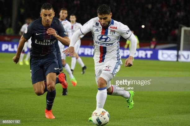 Nabil Fekir of Lyon in action with Marquinhos of Paris SaintGermain during the French Ligue 1 match between Paris Saint Germain and Lyon OL at Parc...