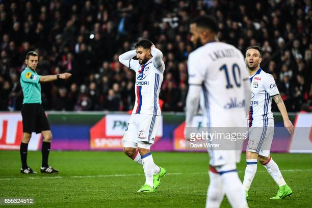 Nabil Fekir of Lyon looks dejected during the French Ligue 1 match between Paris Saint Germain and Lyon at Parc des Princes on March 19 2017 in Paris...