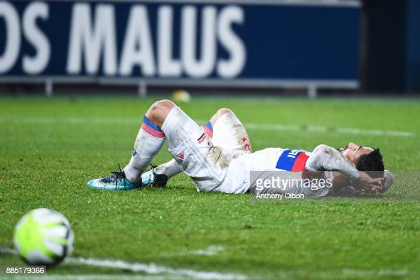 Nabil Fekir of Lyon looks dejected during the Ligue 1 match between SM Caen and Olympique Lyonnais at Stade Michel D'Ornano on December 3 2017 in Caen