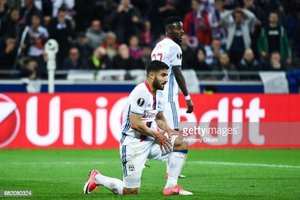 Nabil Fekir of Lyon looks dejected during the Uefa Europa League semi final second leg match between Olympique Lyonnais Lyon and Ajax Amsterdam at...