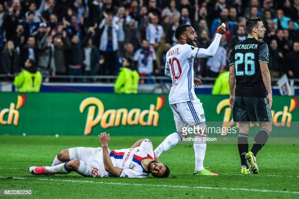 Nabil Fekir of Lyon looks injured during the Uefa Europa League semi final second leg match between Olympique Lyonnais Lyon and Ajax Amsterdam at...