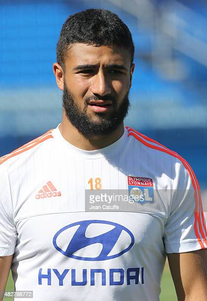Nabil Fekir of Lyon looks on during Olympique Lyonnais training session on the eve of the 2015 Trophee des Champions between Paris SaintGermain and...