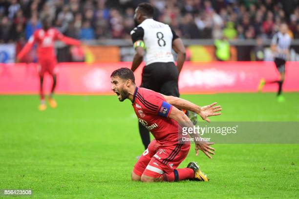 Nabil Fekir of Lyon reacts during the Ligue 1 match between Angers SCO and Olympique Lyonnais at Stade Raymond Kopa on October 1 2017 in Angers France