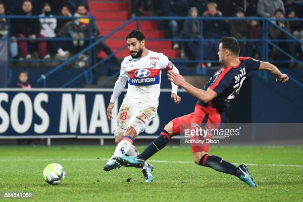 Nabil Fekir of Lyon scores a goal but will be cancel for a offside position during the Ligue 1 match between SM Caen and Olympique Lyonnais at Stade...