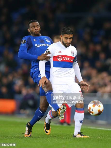 Nabil Fekir of Olympique Lyon holds off a challenge from Cuco Martina of Everton FC during the UEFA Europa League group E match between Everton FC...