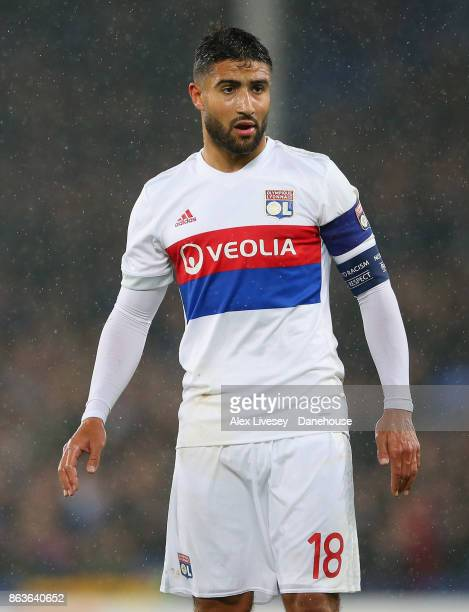 Nabil Fekir of Olympique Lyon looks on during the UEFA Europa League group E match between Everton FC and Olympique Lyon at Goodison Park on October...