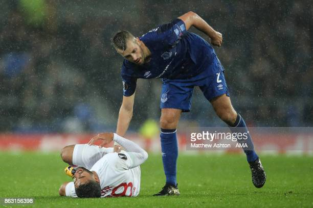 Nabil Fekir of Olympique Lyonnais and Morgan Schnneiderlin of Everton during the UEFA Europa League group E match between Everton FC and Olympique...