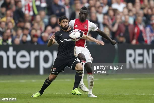 Nabil Fekir of Olympique Lyonnais Davinson Sanchez of Ajaxduring the UEFA Europa League semi final match between Ajax Amsterdam and Olympique...
