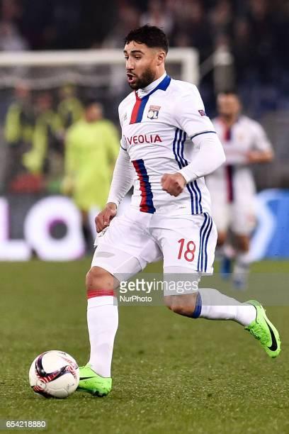 Nabil Fekir of Olympique Lyonnais during the UEFA Europa League match between Roma and Olympique Lyonnais at Stadio Olimpico Rome Italy on 16 March...
