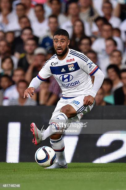 Nabil Fekir of Olympique Lyonnais in action during the preseason friendly match between Olympique Lyonnais and AC MIlan at Gerland Stadium on July 18...