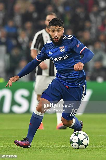 Nabil Fekir of Olympique Lyonnais in action during the UEFA Champions League Group H match between Juventus and Olympique Lyonnais at Juventus...