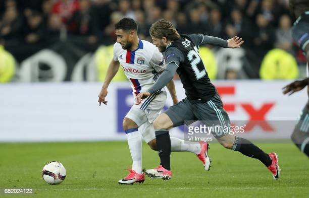Nabil Fekir of Olympique Lyonnais Lasse Schone of Ajaxduring the UEFA Europa League semi final match between Olympique Lyonnais and Ajax Amsterdam at...