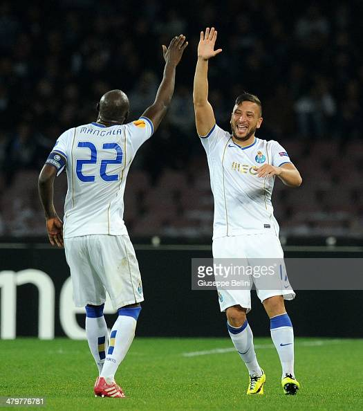 Nabil Ghilas of FC Porto celebrates after scoring their first goal during the UEFA Europa League Round of 16 match between SSC Napoli and FC Porto at...