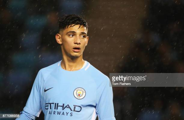 Nabil Touaizi Zoubdi of Manchester City looks on during the UEFA Youth League Group F match between Manchester City and Feyenoord at Manchester City...