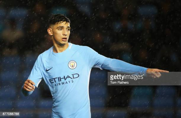 Nabil Touaizi Zoubdi of Manchester City makes his point during the UEFA Youth League Group F match between Manchester City and Feyenoord at...