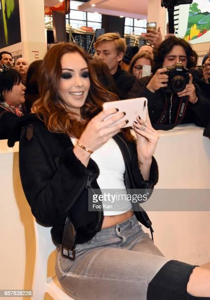 Nabilla Benattia attends 'Trop Vite' Nabilla Benattia book signing during Paris Book Fair 2017 at Parc Des Expositions Porte de Versailles on March...