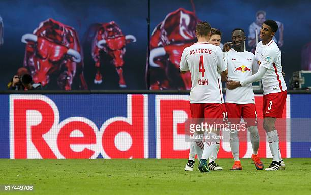 Naby Deco Keita of Leipzig jubilates with team mates after scoring the second goal during the Bundesliga match between RB Leipzig and SV Werder...