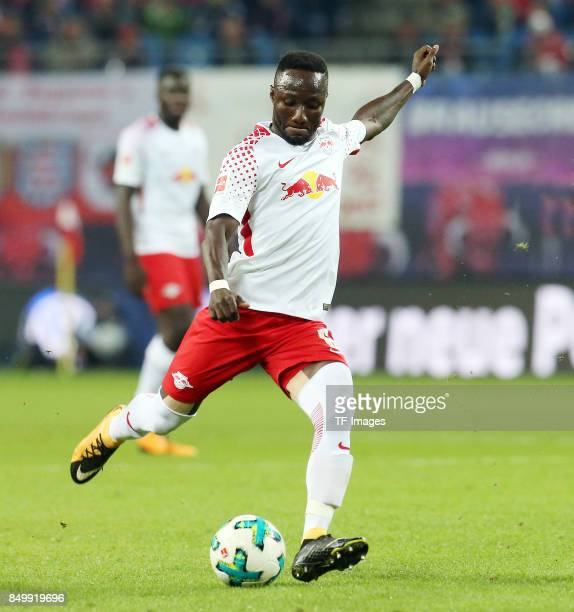 Naby Keita of Leipzig controls the ball during the Bundesliga match between RB Leipzig and Borussia Moenchengladbach at Red Bull Arena on September...