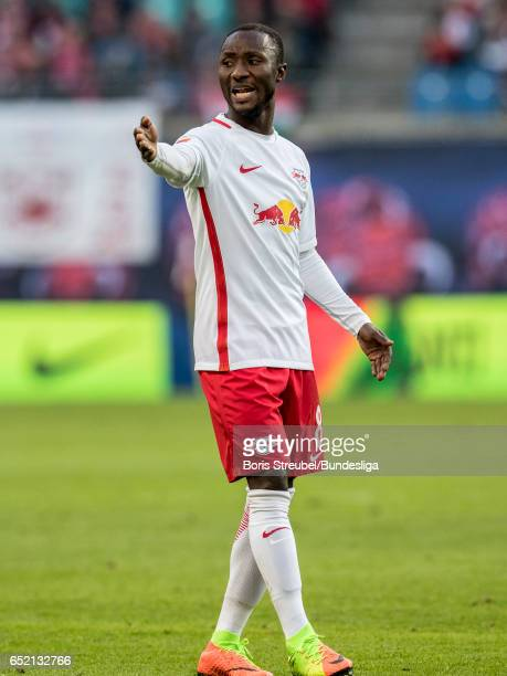 Naby Keita of RB Leipzig gestures during the Bundesliga match between RB Leipzig and VfL Wolfsburg at Red Bull Arena on March 11 2017 in Leipzig...