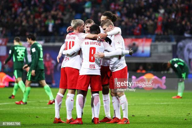 Naby Keita of RB Leipzig is congratulated after scoring a goal during the Bundesliga match between RB Leipzig and SV Werder Bremen at Red Bull Arena...