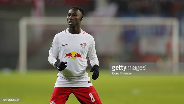 Naby Keita of RB Leipzig looks on during the Bundesliga match between RB Leipzig and Eintracht Frankfurt at Red Bull Arena on January 21 2017 in...