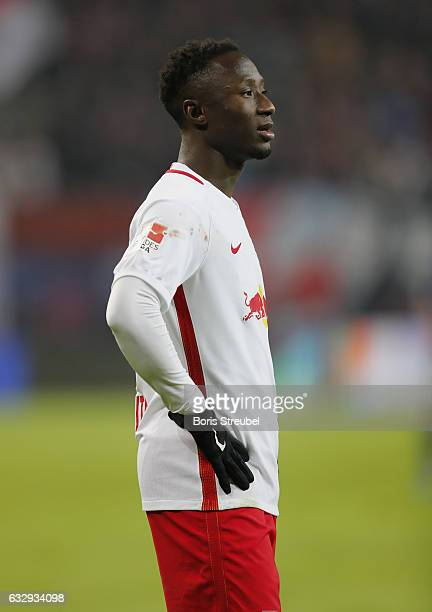 Naby Keita of RB Leipzig looks on during the Bundesliga match between RB Leipzig and TSG 1899 Hoffenheim at Red Bull Arena on January 28 2017 in...